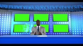 Noticias mundiales que son presentadas almacen de video