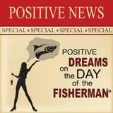 Noticias positivas - día del pescador stock de ilustración