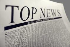 Noticias superiores Fotografía de archivo libre de regalías
