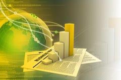 Noticias y gráfico de negocio Fotografía de archivo libre de regalías