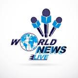 Noticias y hechos que divulgan el logotipo del vector compuesto usando la inscripción de las noticias de mundo y el equipo period libre illustration