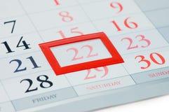 Notiertes Datum an einem Kalender Stockfotografie