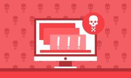 Notificação alerta do perigo no computador Imagem de Stock