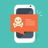 A notificação de Malware no vetor do smartphone, telefone celular liso do estilo com crânio desossa o discurso da bolha ilustração do vetor
