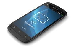 Notificação de SMS no smartphone moderno do écran sensível da exposição Fotos de Stock