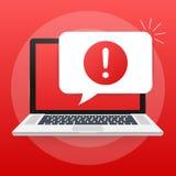 Notificação do portátil da mensagem alerta Alertas do erro do perigo, problema do vírus do portátil ou notificações incertas dos  ilustração stock