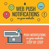 Notificações do impulso da Web para seu Web site com o portátil linear dos ícones dos elementos Bandeiras Imagens de Stock