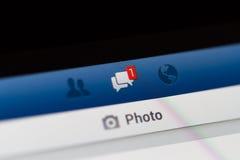 Notifica di Facebook dei messaggi Fotografie Stock