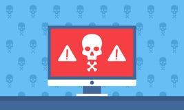 Notificación alerta del peligro en el ordenador Foto de archivo