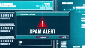 48 Notificación amonestadora alerta del Spam en alarma de seguridad de Digitaces en la pantalla libre illustration