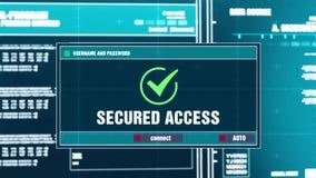 76 Notificación amonestadora asegurada del acceso en alarma de seguridad de Digitaces en la pantalla ilustración del vector