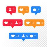 Notification application icons heart, message, friend request vector set. Notifications vector icons templates. Social network app symbols of heart like, new Stock Photos