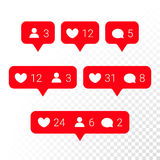 Notification application icons heart, message, friend request vector set. Notifications vector icons templates. Social network app symbols of heart like, new Royalty Free Stock Image
