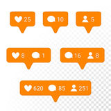 Notification application icons heart, message, friend request vector set. Notifications vector icons templates. Social network app symbols of heart like, new Royalty Free Stock Photography