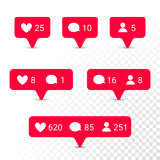 Notification application icons heart, message, friend request vector set. Notifications vector icons templates. Social network app symbols of heart like, new Stock Images