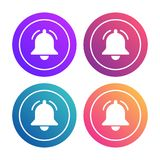 Notification-bell-banners copy. Notification bells icons set. Minimalistic design. Incoming messages concept. Do not disturbe icon. Alarm icon. Modern trendy Stock Image