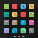 Notification flat style icons set - Vector illustration for Web & Mobile Royalty Free Stock Photography
