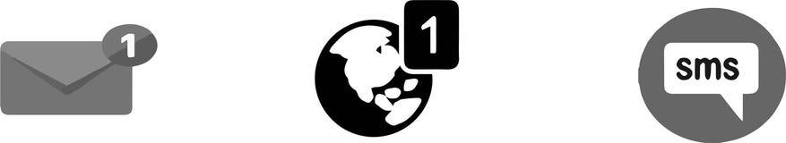 Notification icon on white background. Graphic,image,sign stock illustration