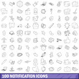 100 notification icons set, outline style. 100 notification icons set in outline style for any design vector illustration Stock Photography