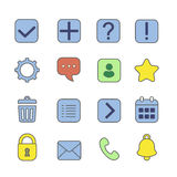 Notification and information linear icons set. Question mark, exclamation and attention, help, faq, vector illustration Royalty Free Stock Photography