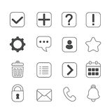 Notification and information linear icons set. Question mark, exclamation and message, help and settings Stock Photo