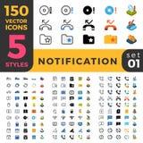 Notification 150 line flat isometric mobile web si. 150 Notification bar reminder ui icon set. Linear outline flat isometric 5 styles icons. Five style vector Royalty Free Stock Photos