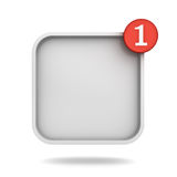 Notification one new message in the blank square button concept Royalty Free Stock Photo