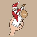 Notification pop up phone Santa cartoon Royalty Free Stock Photography