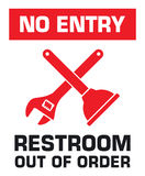 Notification sign. No entry. Restroom out of order. Vector illustration Royalty Free Stock Photos