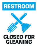 Notification sign. Restroom closed for cleaning. Stock Image