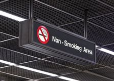 Non smoking area. Notification signs for the smoking ban hang from the airport terminal ceiling. Non smoking area Stock Image