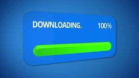 Notification about successful download process, status bar totally completed. Stock footage Royalty Free Stock Images