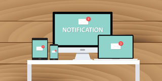 Notification system mail email box multi platform. Computer notebook tab phone smarthone Stock Photo