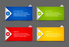 Notification window template. Origami style notification window or paper background document template royalty free illustration