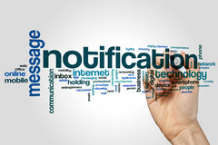Notification word cloud. Concept on grey background Stock Image