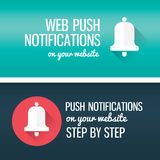 Notifications call icon with bell and title. Banner for you blor, website. Stock Photos
