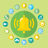 Notifications call icons set with bell and Royalty Free Stock Photo