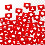 Notifications with Likes, Followers and Comments. Social Media Marketing. Rating Scale Elements of Design for Web, Advertisement, Promotion, Marketing Stock Image