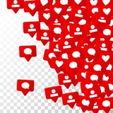 Notifications with Likes, Followers and Comments. Social Media Marketing. Rating Scale Elements of Design for Web, Advertisement, Promotion, Marketing Royalty Free Stock Photography