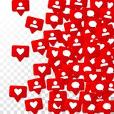 Notifications with Likes, Followers and Comments. Social Media Marketing. Rating Scale Elements of Design for Web, Advertisement, Promotion, Marketing Stock Photography