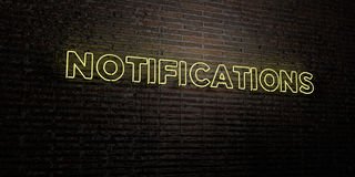 NOTIFICATIONS -Realistic Neon Sign on Brick Wall background - 3D rendered royalty free stock image Royalty Free Stock Image