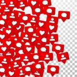 Notifiche con i simili, i seguaci e le osservazioni Commercializzazione sociale di media Fotografie Stock Libere da Diritti