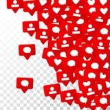 Notifiche con i simili, i seguaci e le osservazioni Commercializzazione sociale di media Fotografia Stock Libera da Diritti