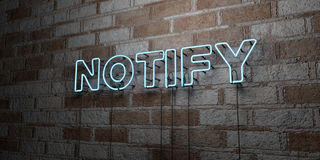 NOTIFY - Glowing Neon Sign on stonework wall - 3D rendered royalty free stock illustration. Can be used for online banner ads and direct mailers Royalty Free Stock Photo