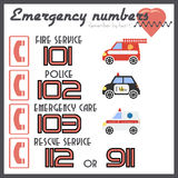 Notifying poster with emergency call numbers. Ambulance, police department, fire brigade, rescue service in flat style. Flat design. Vector illustration royalty free illustration