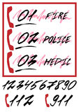 Notifying poster with emergency call numbers. Ambulance, police department, fire brigade, rescue service in hand written style with grunge lettering. Vector stock illustration