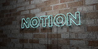 NOTION - Glowing Neon Sign on stonework wall - 3D rendered royalty free stock illustration. Can be used for online banner ads and direct mailers Stock Image
