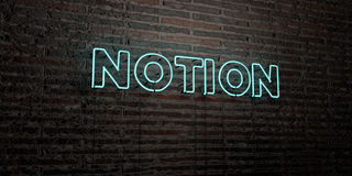 NOTION -Realistic Neon Sign on Brick Wall background - 3D rendered royalty free stock image. Can be used for online banner ads and direct mailers Stock Photography