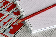 Notitieboekje en een Potlood Royalty-vrije Stock Foto