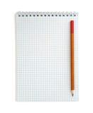 Notitieboekje en potlood stock afbeeldingen